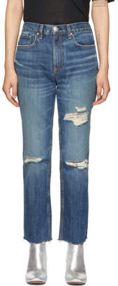 Rag & Bone Blue High-Rise Ankle Straight Jeans