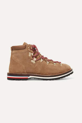 Moncler Blanche Shearling-lined Glittered Suede Ankle Boots - Beige