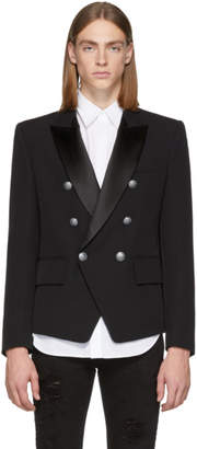 Balmain Black Satin Double-Breasted Blazer