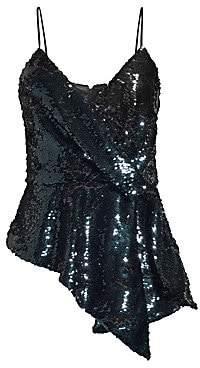 Parker Women's Belinda Asymmetric Sequin Wrap Tank