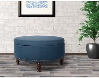Inspired by Bassett Augusta Round Storage Ottoman in Klein Azure Fabric