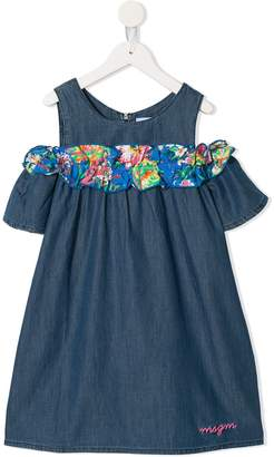 MSGM Kids off the shoulder denim dress