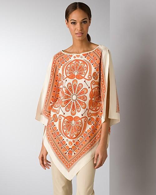 MICHAEL Michael Kors Indian print silk poncho blouse