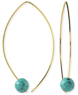 Taolei 18K Yellow Gold Plated Turquoise Beaded Drop Earrings