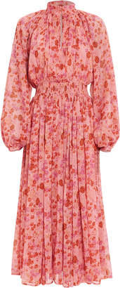By Ti Mo Bytimo High Neck Floral Georgette Dress