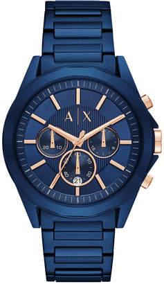 Armani Exchange Men's Chronograph Blue Stainless Steel Bracelet Watch 44mm AX2607