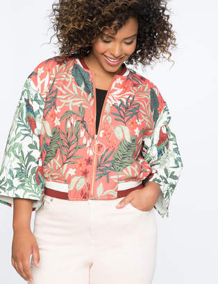 Printed Kimono Sleeve Bomber Jacket