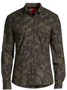 HUGO Ero Camo Cotton Woven Shirt