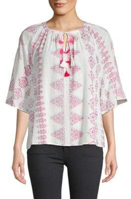 Antik Batik Self-Tie Printed Blouse