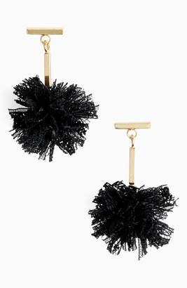 Tuleste Lace Pom Pom T-Bar Stud Earrings