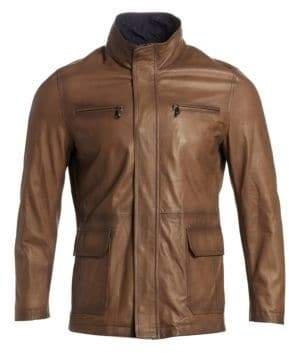 Saks Fifth Avenue COLLECTITON Band Collar Leather Jacket