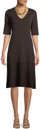 Eileen Fisher V-Neck Short-Sleeve Tencel® A-line Dress