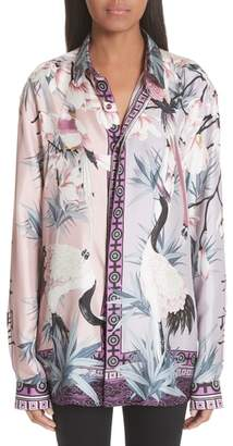 Versace Bird Print Silk Blouse
