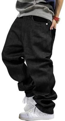 QIBOE Men's Vintage Graffiti Hip Hop Style Baggy Jeans Denim-40