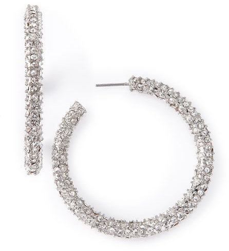 Fragments Rhinestone Hoops, Silver