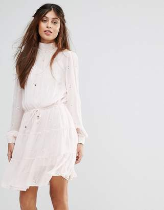 Vila High Broderie Detail Tiered Smock Dress $76 thestylecure.com