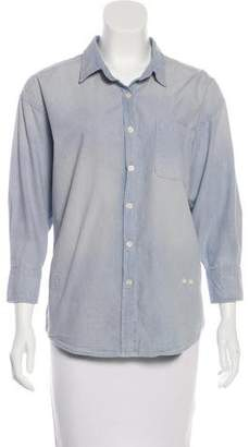 R 13 Chambray Button-Up Top