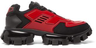Prada Cloudbust Thunder Knit And Rubber Trainers - Mens - Black Red