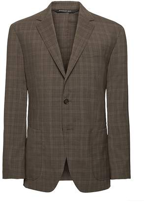 Banana Republic Slim Plaid Smart-Weight Performance Wool Blend Suit Jacket