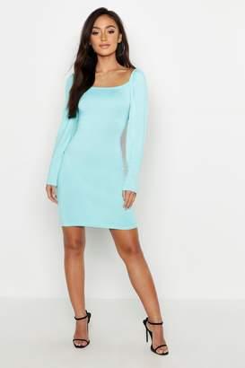 boohoo Petite Square Neck Volume Shoulder Bodycon Dress