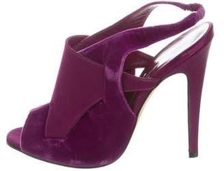 Manolo Blahnik Velvet Slingback Sandals