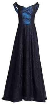 Off-The-Shoulder Embellished A-Line Gown