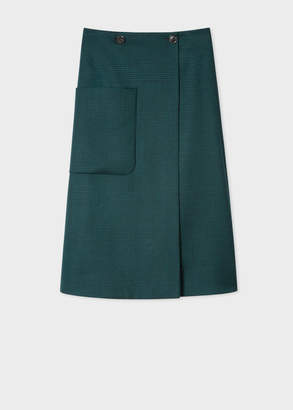 Paul Smith Women's Dark Green Houndstooth Check Wrap Midi Skirt With Patch Pocket