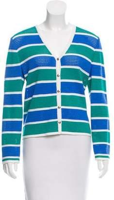 St. John Sport Striped Button-Up Cardigan
