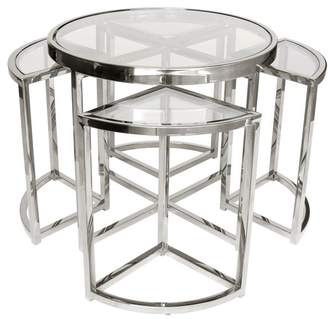 clear Darcy And Duke Sundance Nesting Side Tables 5 Piece Silver With Glass
