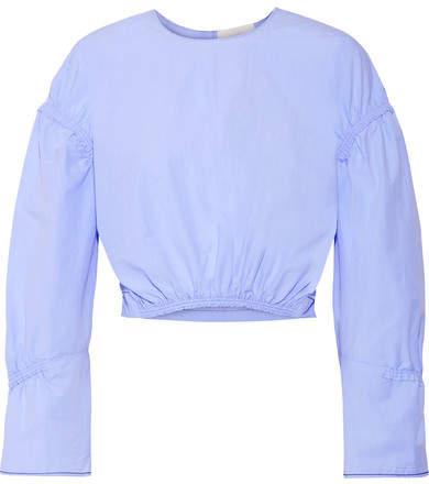 3.1 Phillip Lim3.1 Phillip Lim - Gathered Cotton-poplin Top - Sky blue