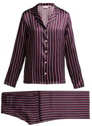Derek Rose Brindisi Striped Silk Pyjama Set - Womens - Navy Stripe