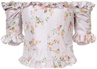 Brock Collection Tao off the shoulder floral print taffeta top