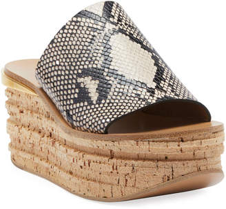 Chloé Camille Python-Embossed Wedge Sandals