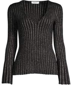 Bailey 44 Don't Stop Metallic Stripe Bell Sleeve Sweater
