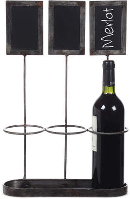 3r Studio Metal Wine Bottle Holder with Chalkboard Labels