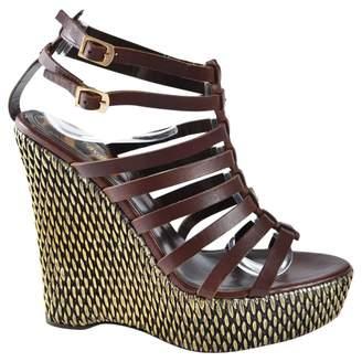 Roberto Cavalli Brown Leather Sandals