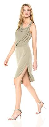 Halston Women's Sleeveless Round Neck Draped Jersey Dress
