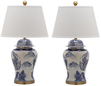 One Kings Lane Set of 2 Shanghai Table Lamps - Blue/White