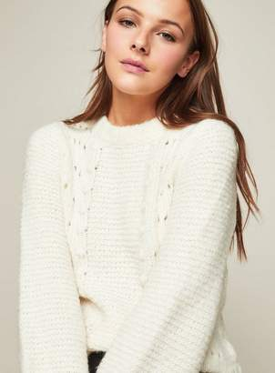 Miss Selfridge Cream pointelle bobble knitted jumper