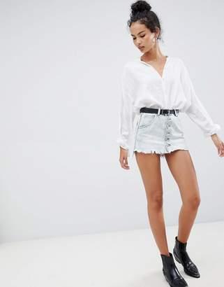Glamorous bleach wash denim skirt