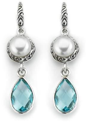 Samuel B Jewelry Sterling Silver 8mm Freshwater Pearl & Topaz Drop Earrings