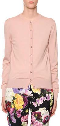 Dolce & Gabbana Long-Sleeve Jewel-Button Cashmere-Silk Cardigan