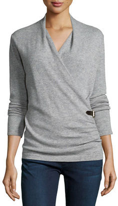 Neiman Marcus Cashmere Collection Cashmere Belted Wrap Top $395 thestylecure.com