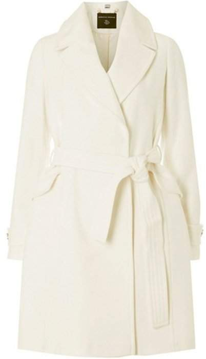 Womens White Belted Wrap Coat