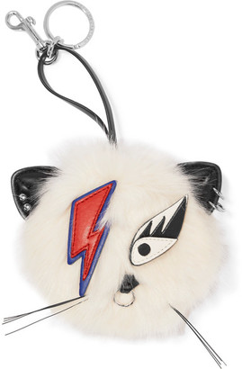Ziggy Stardust Appliquéd Faux Fur Keychain - White