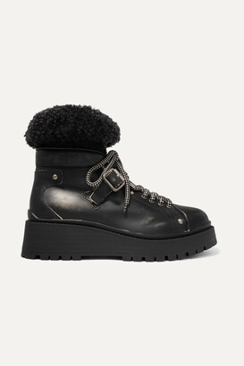 Miu Miu Shearling-trimmed Leather Ankle Boots