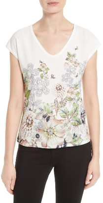 Women's Ted Baker London Teila Mixed Media Tee $95 thestylecure.com