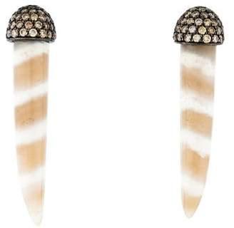Kimberly McDonald 18K Agate & Diamond Tusk Earrings