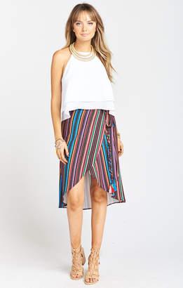 Show Me Your Mumu Panama Tassel Wrap Skirt ~ Siesta Siesta Stripe Crinkle