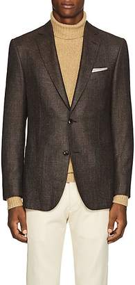 Pal Zileri MEN'S STEP-WEAVE WOOL-BLEND TWO-BUTTON SPORTCOAT - BROWN SIZE 40 R